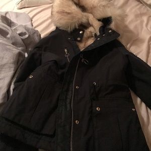 navy blue jacket with fur